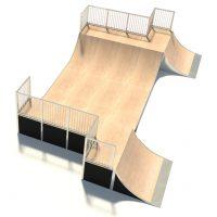 Half Pipe Skate Ramp with Hips Design