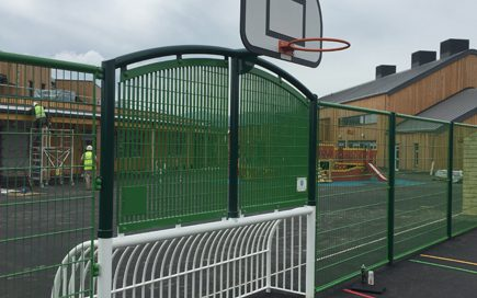 Multi-Use Games Area with Basketball Hoop and Football Net