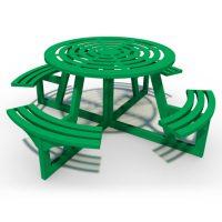 Steel circular picnic table