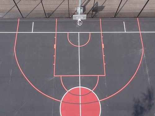 Basketball England drone of net