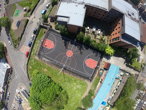 Basketball England Drone of full court
