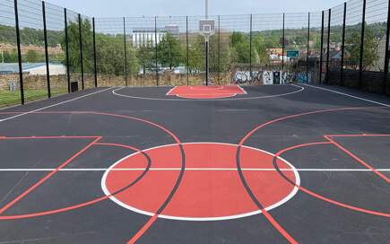 Basketball Court With Basketball Court Markings and Nets