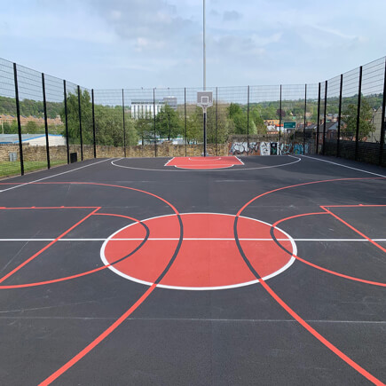 Basketball Court With Basketball Cou